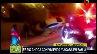 San Juan de Lurigancho: conductor ebrio cae con su auto dentro de una zanja