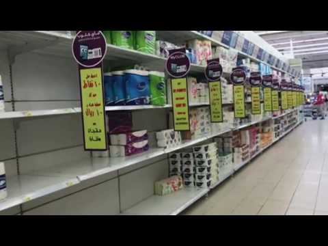 Supermarket shelves in Qatar empty as residents stock pile food   ABC News Australian Broadcasting C