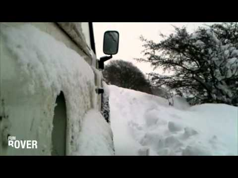 Land Rover Defender in Deep Snow