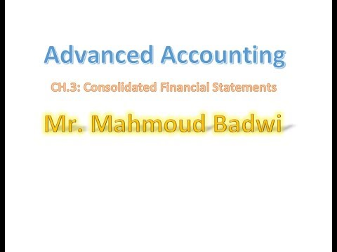 3- Advanced Accounting - CH.3 : Consolidated Financial Statements