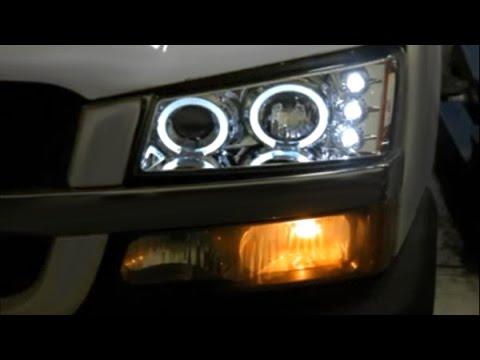 Spec-D - Dual Halo Projector Headlights LEDs Chevy Silverado 2003