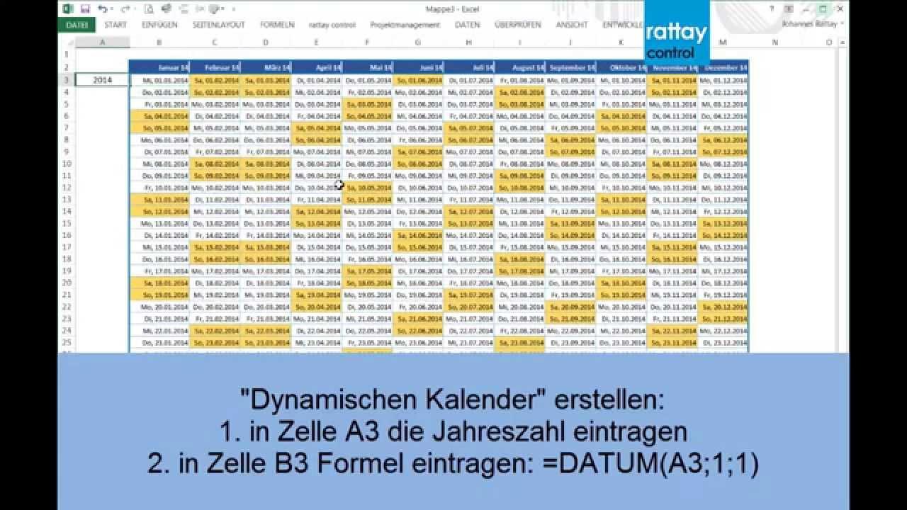 plasticzulu / Dynamischer Kalender mit Excel erstellen - YouTube