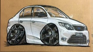 Ford FG falcon cartoon drawing timelapse by Dazz Designs
