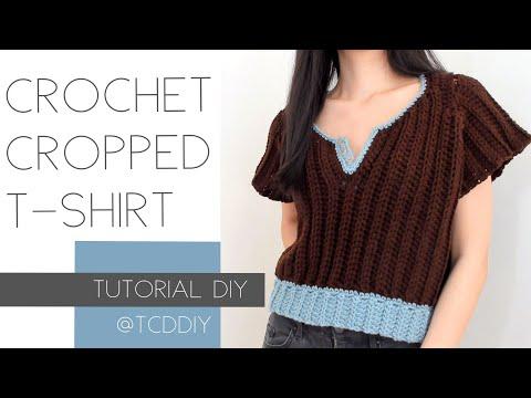 Crochet Button Down Cropped T Shirt | Tutorial DIY