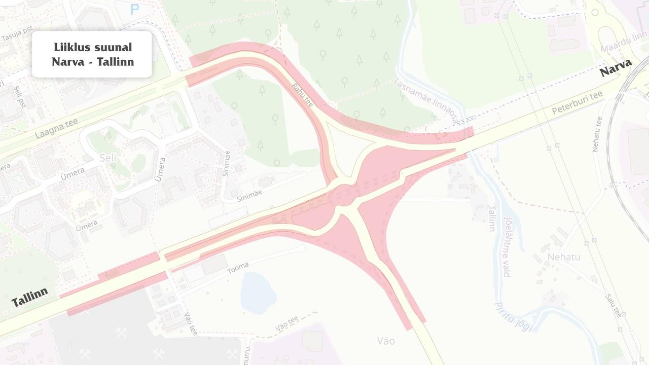 Liikluskorralduse muudatus alates 07.01.2021 Väo liiklussõlmes