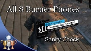 Watch Dogs -  All 8 Burner Phone Locations - Sanity Check Trophy Guide
