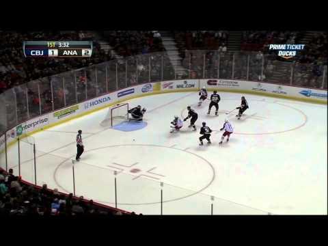 Ryan Getzlaf goal Feb 18 2013 Columbus Blue Jackets vs Anaheim Ducks NHL Hockey