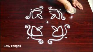 beginners diwali deepam kolam designs with 4x4 straight dots- easy rangoli designs - muggulu designs