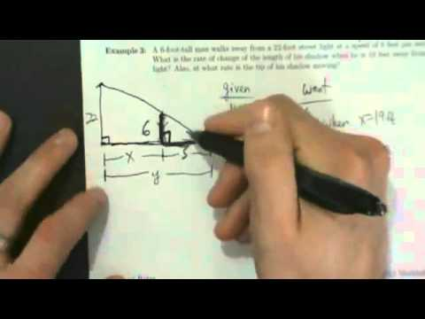 Calculus I - Related Rates - Example 3 - Street Light and Shadow