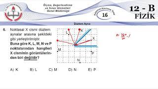 12B MEB Okul Kursu Fizik K.K.Testi 16 (Düzlem Ayna)