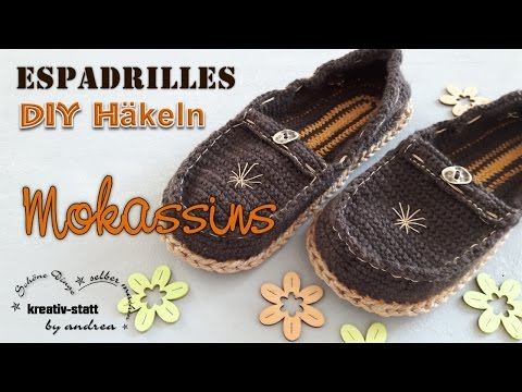 DIY Häkeln Espadrilles - Mokassins Loafer mit Jute-Sohle