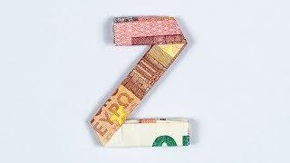 Geld falten Alphabet - Buchstabe Z - Geldgeschenk Idee