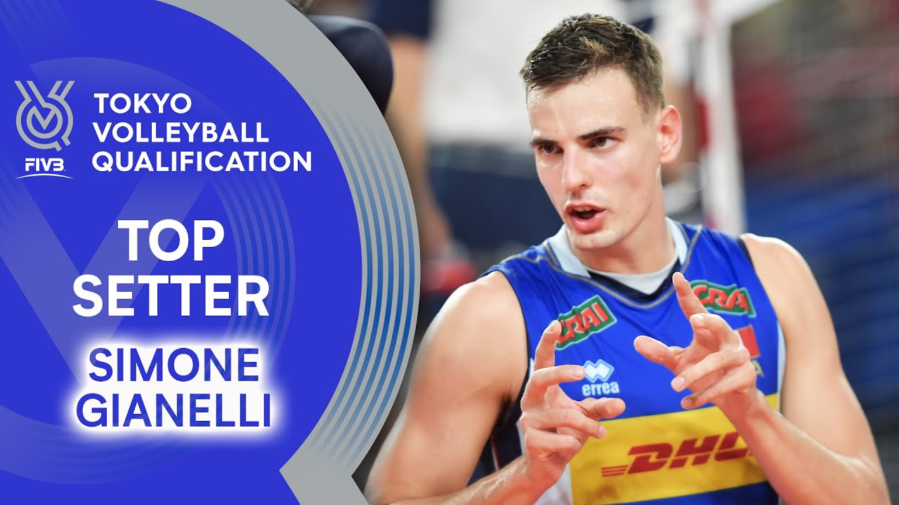 Simone Giannelli Sets The Ball With One Hand Top Setter Volleyball Olympic Qualification 2019 Youtube