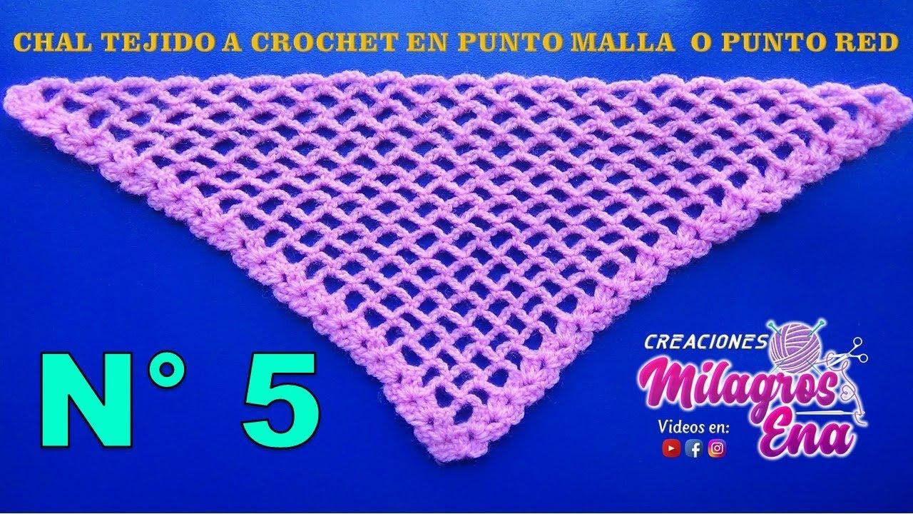 Chal triangular tejido a crochet en punto malla o red paso a paso en ...