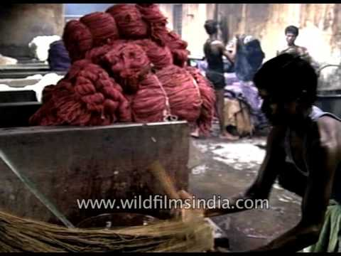 How jute fabrics are made, dyed / coloured in India
