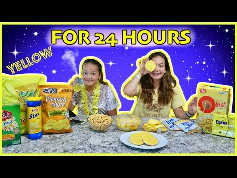 24 HOURS EATING ONLY YELLOW FOOD | SISTER FOREVER
