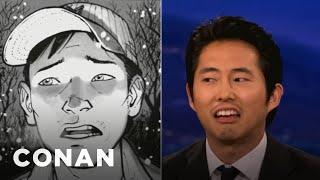 steven yeun has his comic books to keep him warm conan on tbs