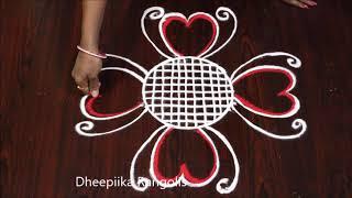 simple colour rangoli design for beginners * sankranthi muggulu * easy rangoli designs