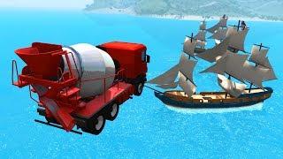 Jumps Cars Attacking Ships #6 - BeamNG.drive