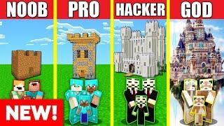 Minecraft Battle: CASTLE HOUSE BUILD CHALLENGE - NOOB vs PRO vs HACKER vs GOD / Animation TOWER SKY
