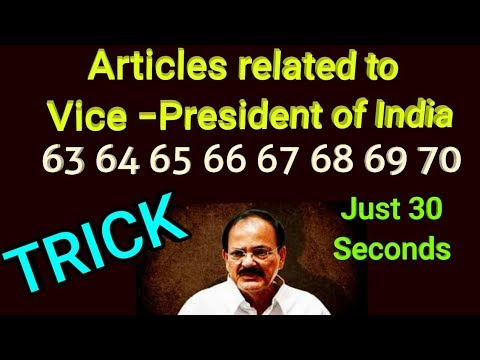 30 second trick to remember articles related to Vice -President of India by Free GK Tricks Academy