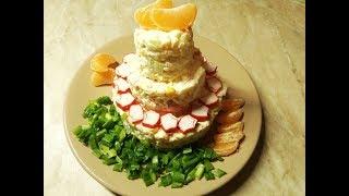 Самый популярный новогодний салат из крабовых палочек в новом амплуа.