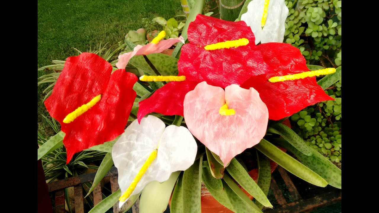 how to make paper flower anthurium  flower   59