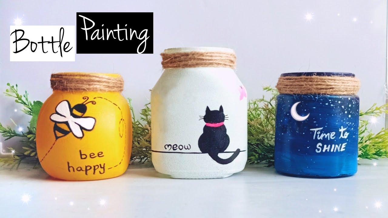 Glass Jar Painting | Bottle Painting | Bottle Art | Easy Mason jar craft | Glass Jar Decorating Idea