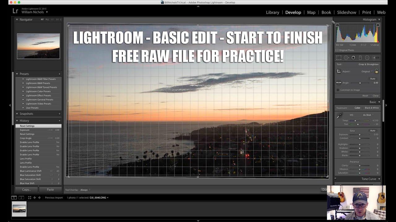 Lightroom PT 3 - Basic edit walkthrough + Inspire Pro Raw file for download!