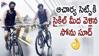 Sonu Sood Cycle Ride to Acharya Movie Sets | Ultimi video di Sonu Sood | Chiranjeevi | Ram Charan
