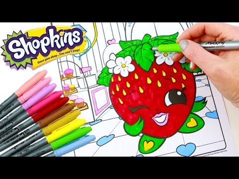 SHOPKINS Coloring Book Strawberry Kiss Speed Coloring With Markers