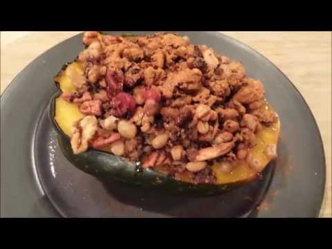 Cranberry Quinoa Stuffed Acorn Squash (vegan)