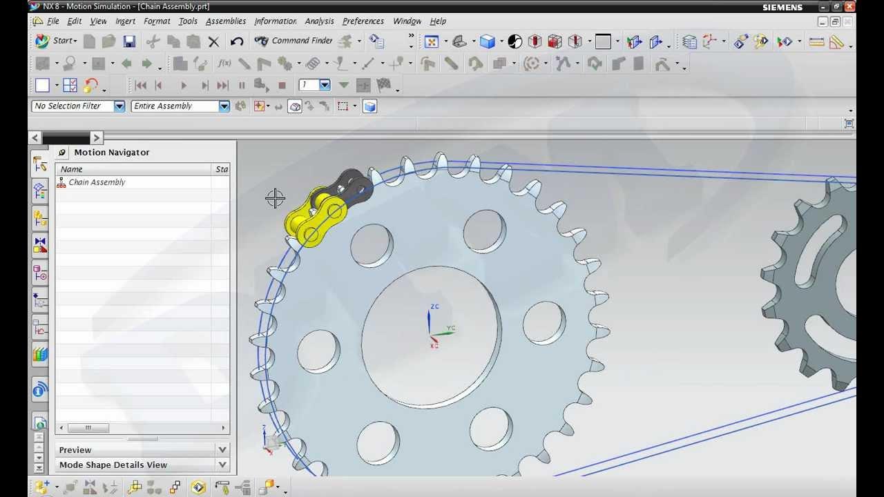NX8 0 Chain Assembly Motion Simulation wmv