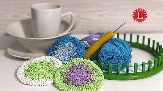 LOOM KNIT Scrubbie Scrubby Flower Washcloth Dishcloth w Strap Loomahat