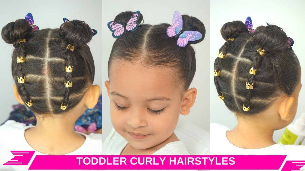 Toddler Girl Easy Curly Wavy Hairstyles Rubberband Updo Space Buns