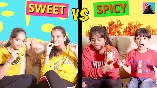 Spicy vs Sweet challenge l funny videosl ayu and anu twin sisters