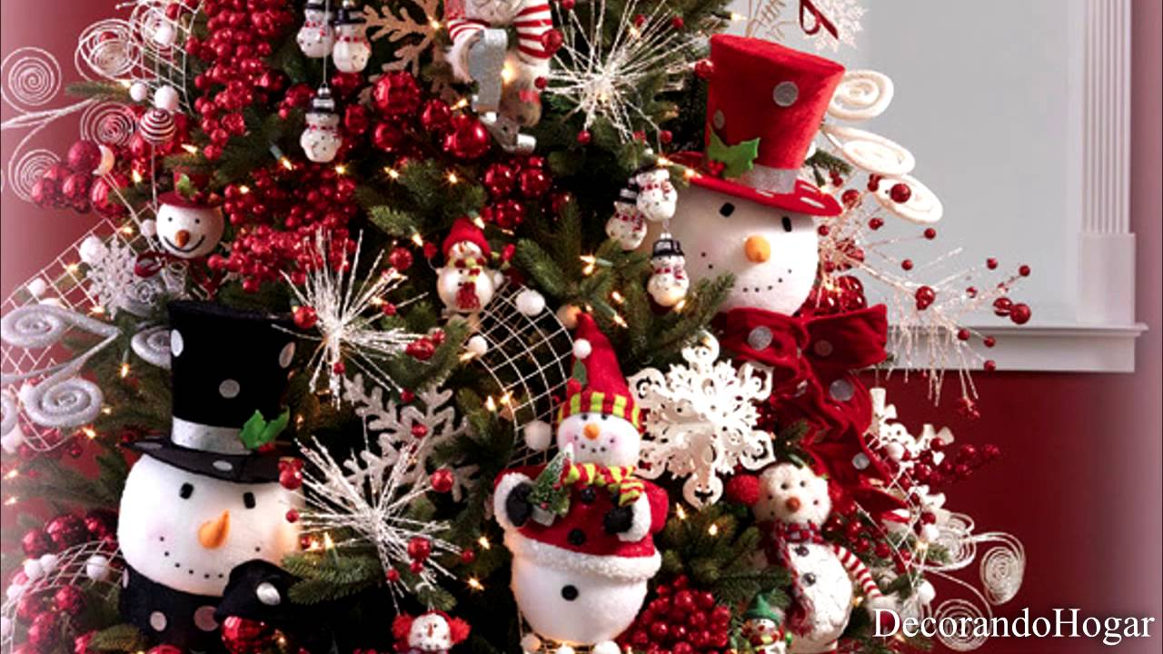 Decoracin rbol de Navidad color Rojo y Blanco YouTube