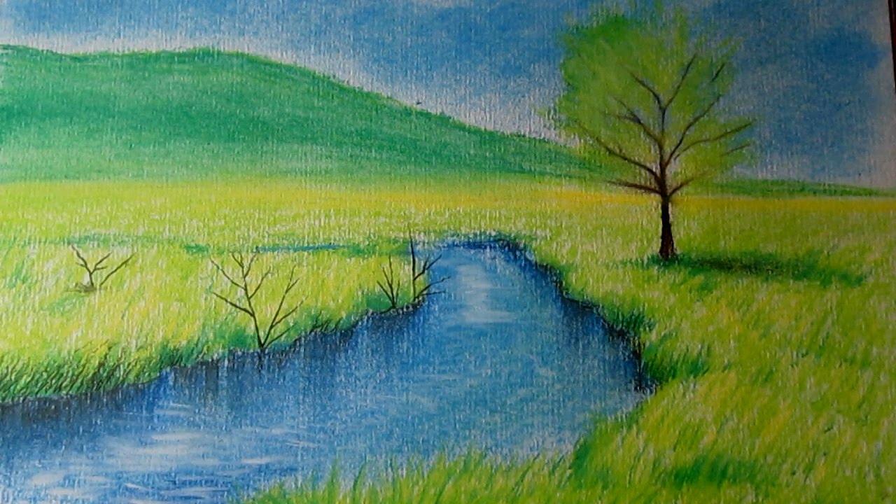 Cómo dibujar un paisaje al pastel paso a paso, dibujo de un paisaje -  YouTube