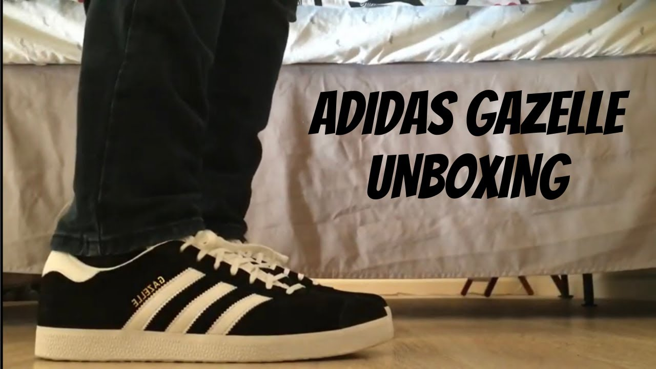 Adidas Gazelle (BlackWhite) On Feet with Different Pants and Close Up