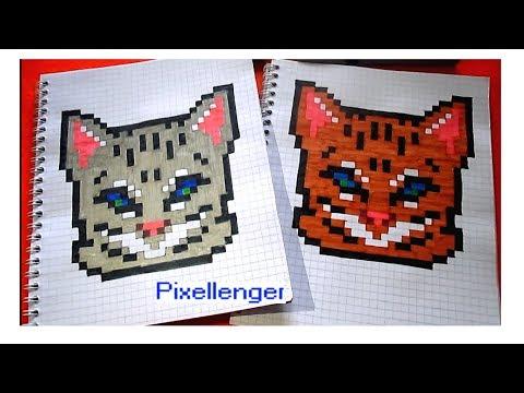 Как рисовать Котенка по клеточкам в тетради Пиксель Арт