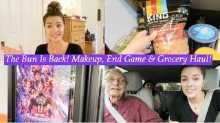THE BUN IS BACK! MAKEUP, END GAME & GROCERY HAUL! | VLOG