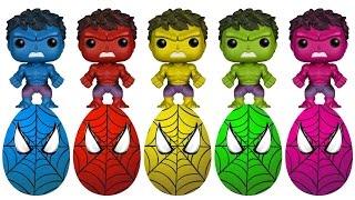 Spiderman Surprise Eggs Hulk Pop Toys Finger Family Colors Learn