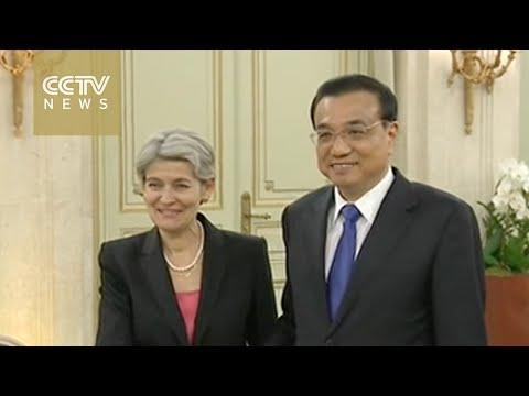 Premier Li meets director-general of UNESCO in Paris