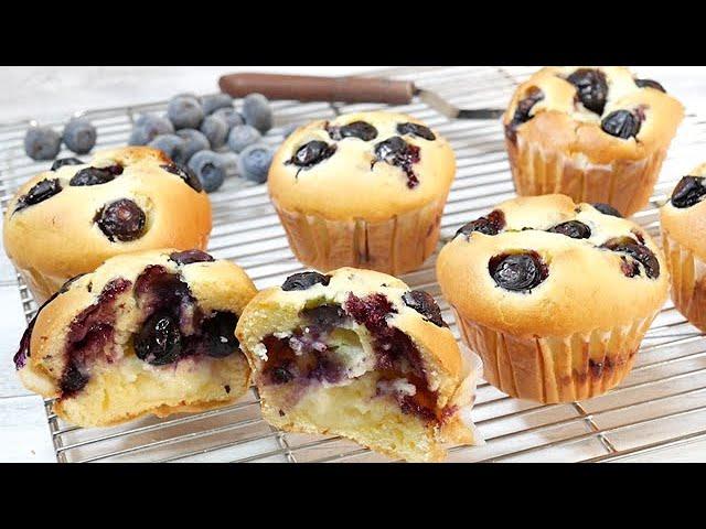 【初心者必見】簡単ブルーベリーチーズマフィン Easy Blueberry cheese muffin