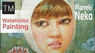 Anime Drawing | How to Draw Maneki Neko | watercolor painting portait time lapse