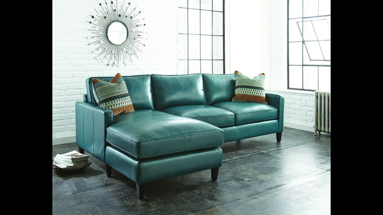Teal leather sectional sofa