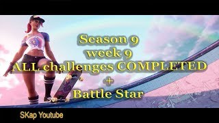Fortnite - Season 9 Week 9 ALL CHALLENGES COMPLETED (all missions) + Secret Battle Star (Mega Mall)