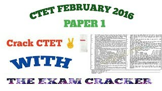 CTET February 2016 Paper 1 (class 1to 5)