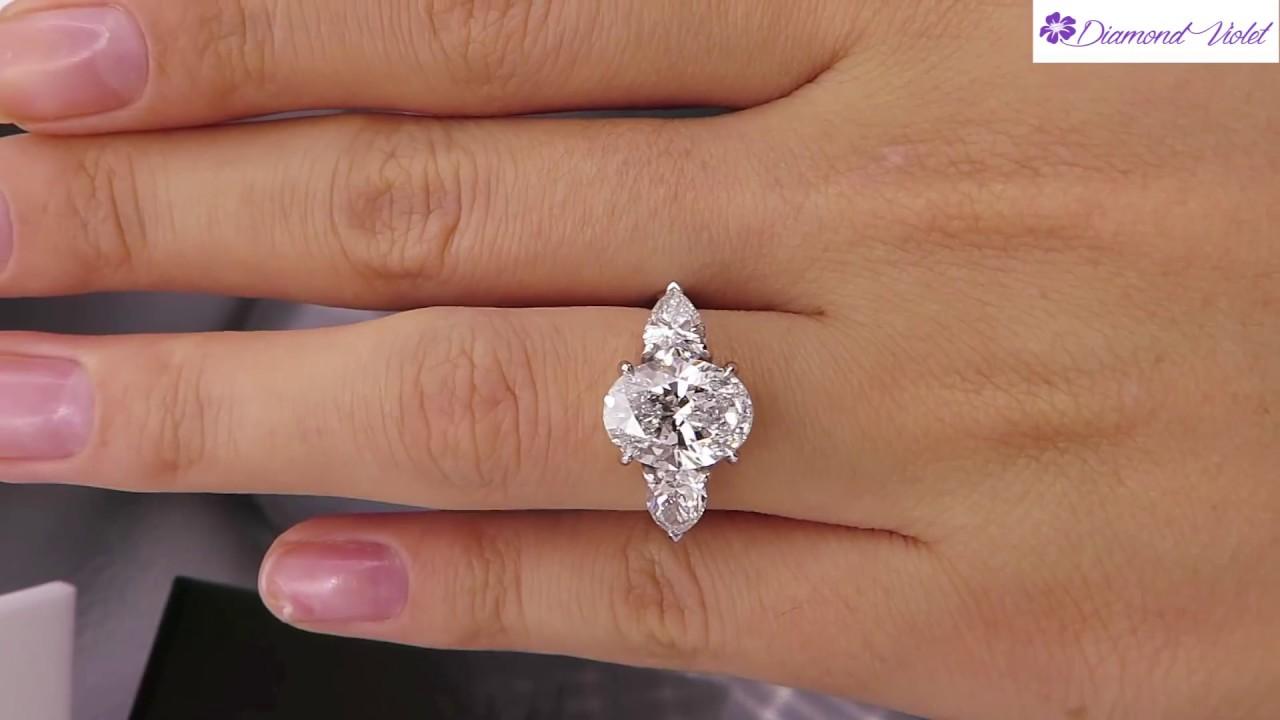 GIA 3 70CT ESTATE VINTAGE OVAL DIAMOND 3 STONE ENGAGEMENT WEDDING ...