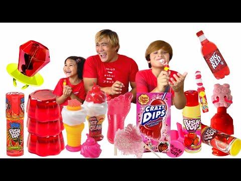 Red Food Mukbang MISHA -  Push Pop Ring Candy Jelly Fruit Lollipop